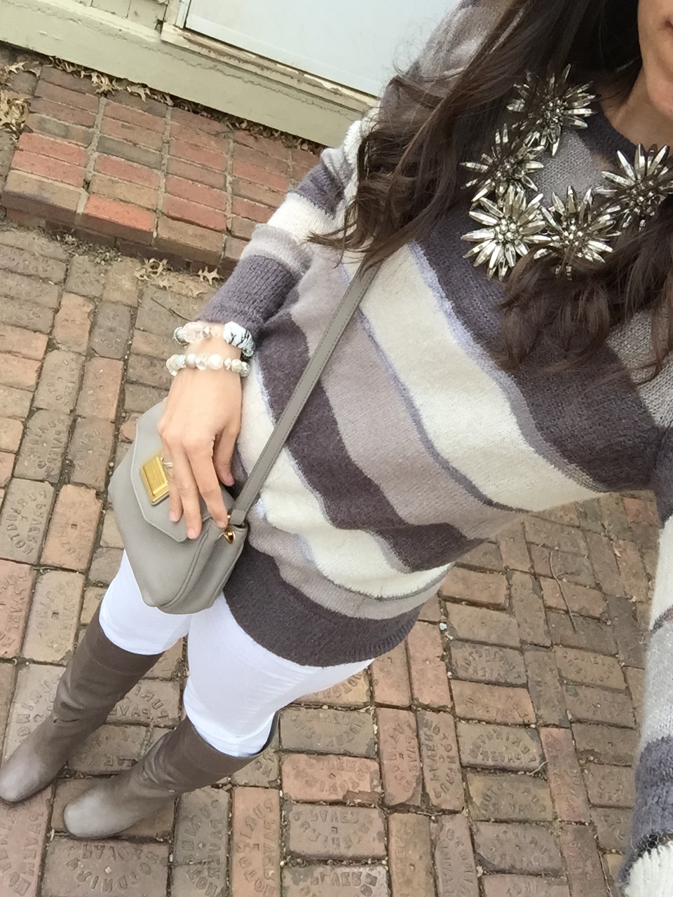 How to wear neutrals in winter, Winter white outfit, white jeans outfit, how to wear over the knee boots, over the knee boots outfit, winter outfits