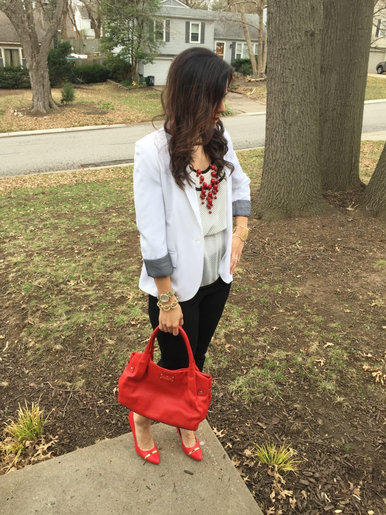 Red pumps outfit | how to wear red pumps | baby shower outfit | what to wear to a baby shower | how to style red pumps | red necklace outfit | toddler leather jacket