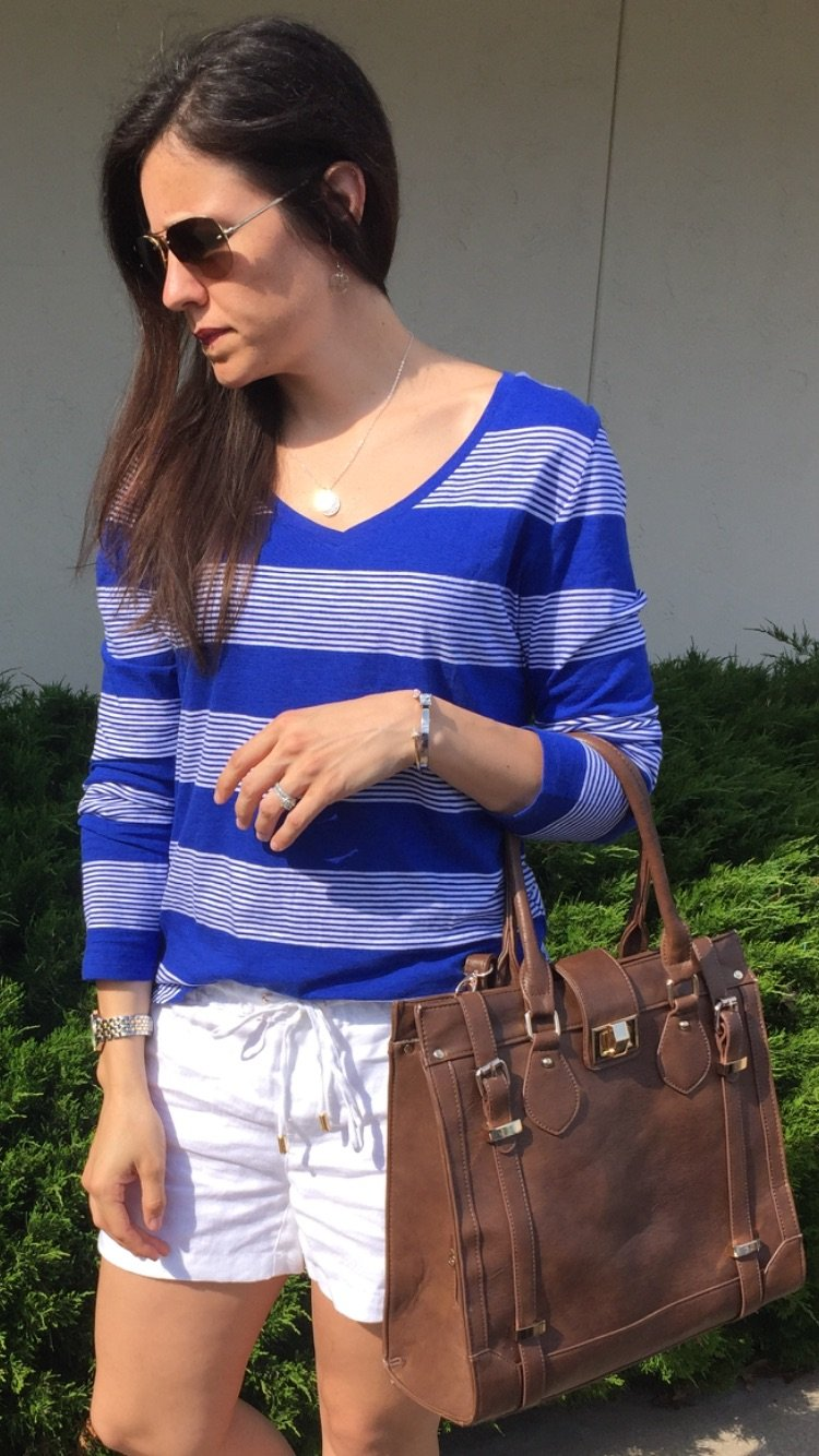 Blue Stripes and Linen Shorts | Spring Style | How to style white shorts | Linen shorts outfit | Spring out ideas