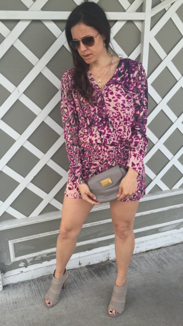 How to style a bold print romper, spring fashion tips, spring and summer style ideas, warm weather fashion, one piece outfit, booties