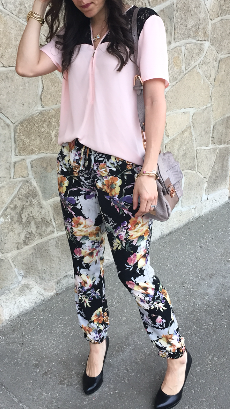 Floral Joggers | How to style floral pants | How to style jogger pants | Jogger outfit ideas | Floral pants | Pink top outfit | Floral pant outfit | Jogger pants outfit