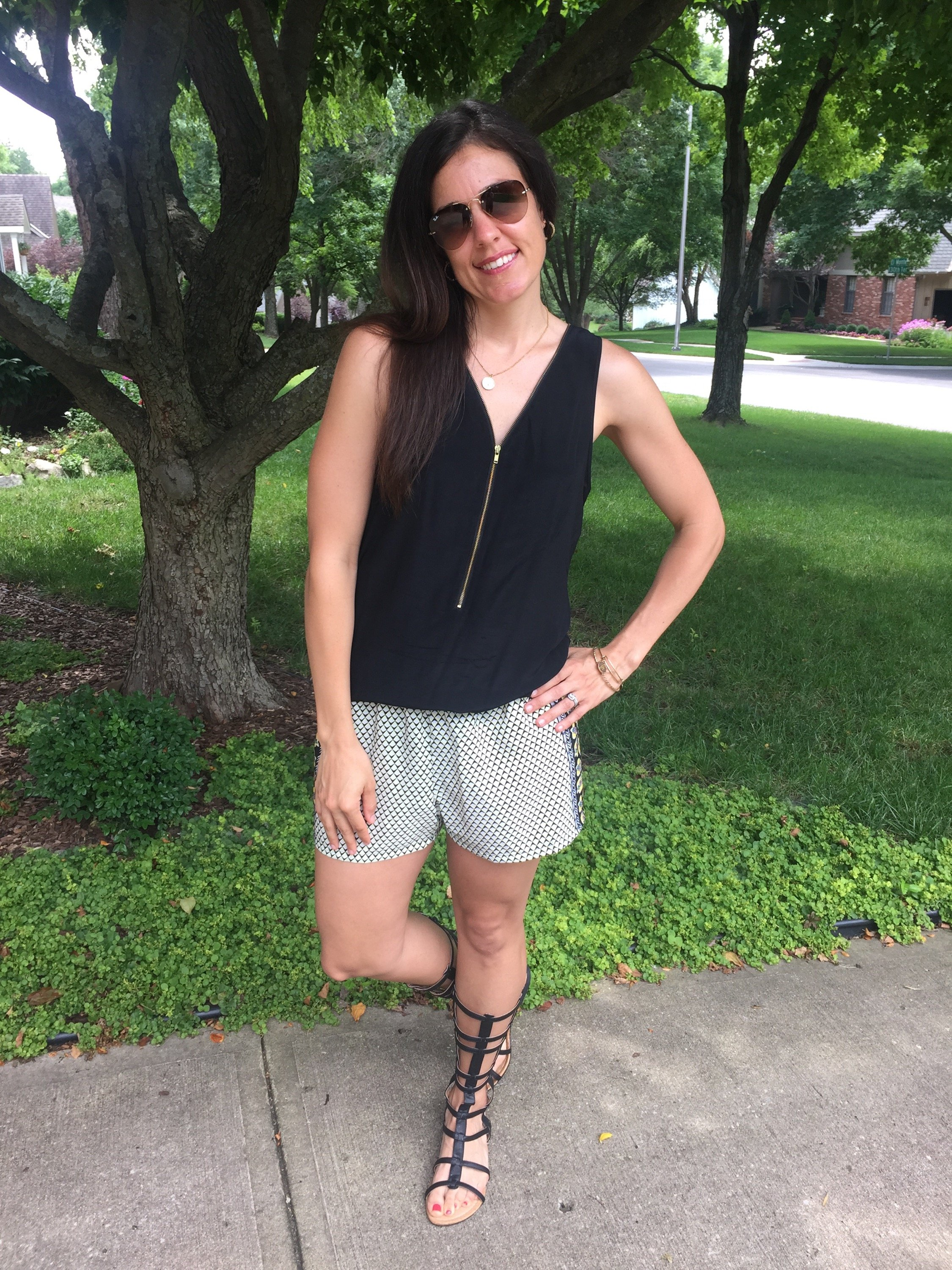 How to style gladiator sandals | summer fashion tips | spring and summer style | warm weather fashion | print shorts outfit