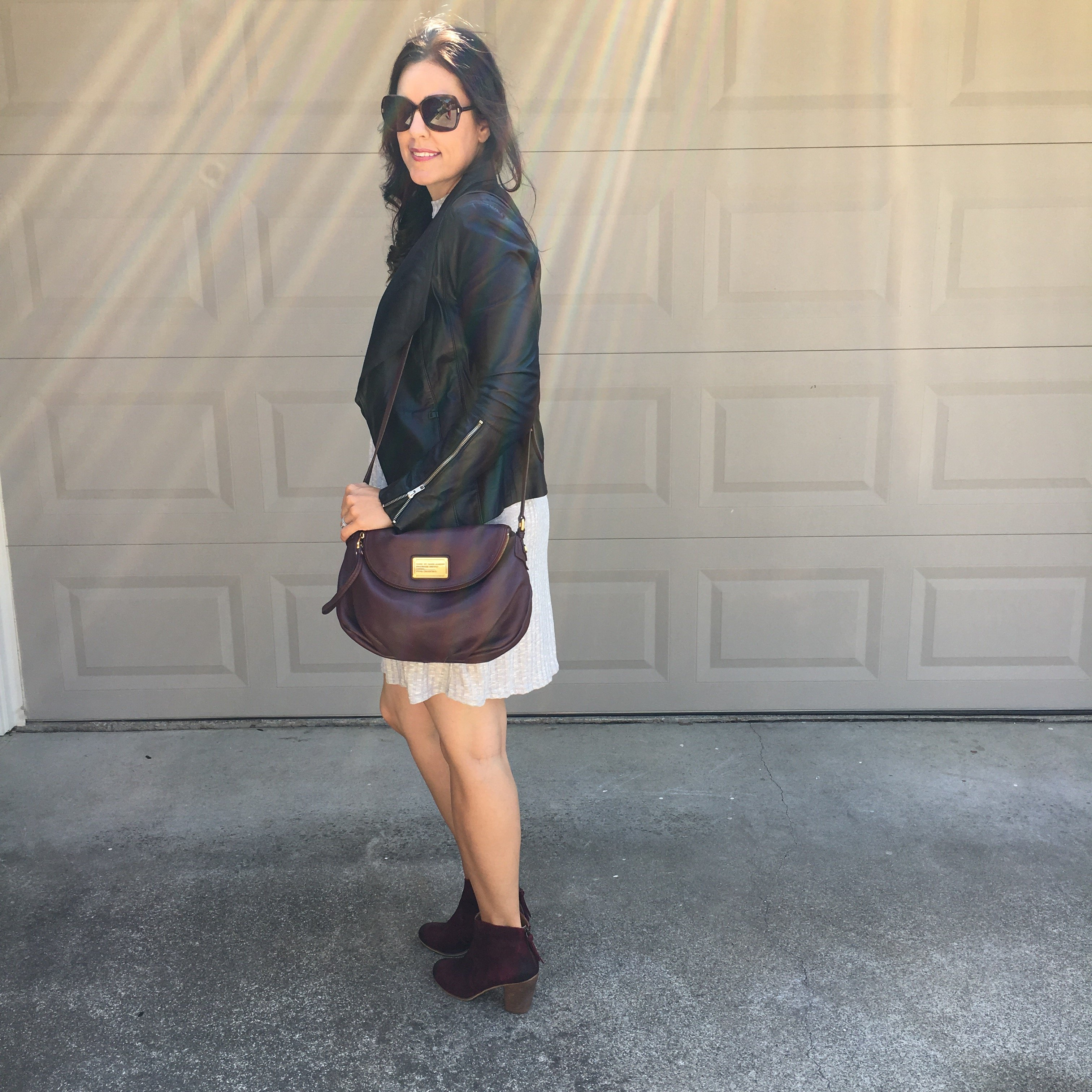 How to style a dress for fall | red booties | fall and winter style ideas | fall fashion tips | cool weather fashion