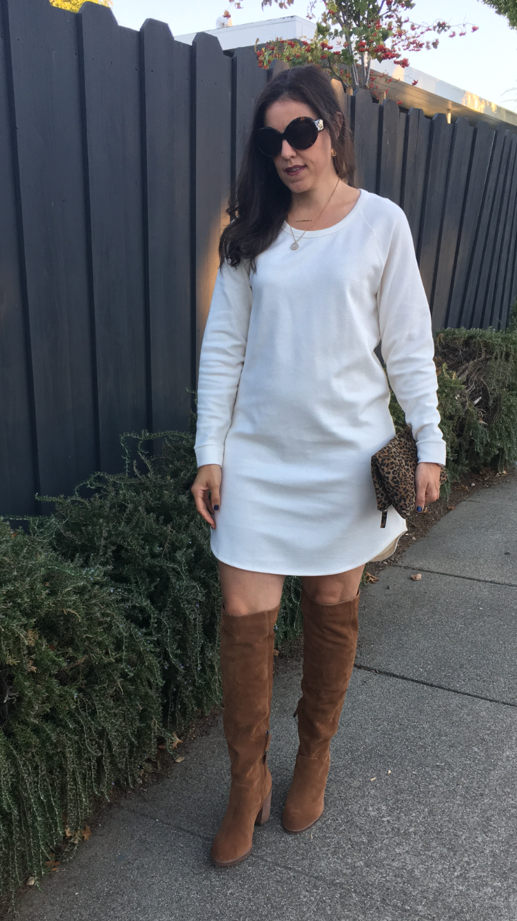 How to style sweatshirt dress | fall and winter styling ideas | fall fashion tips | cool weather fashion