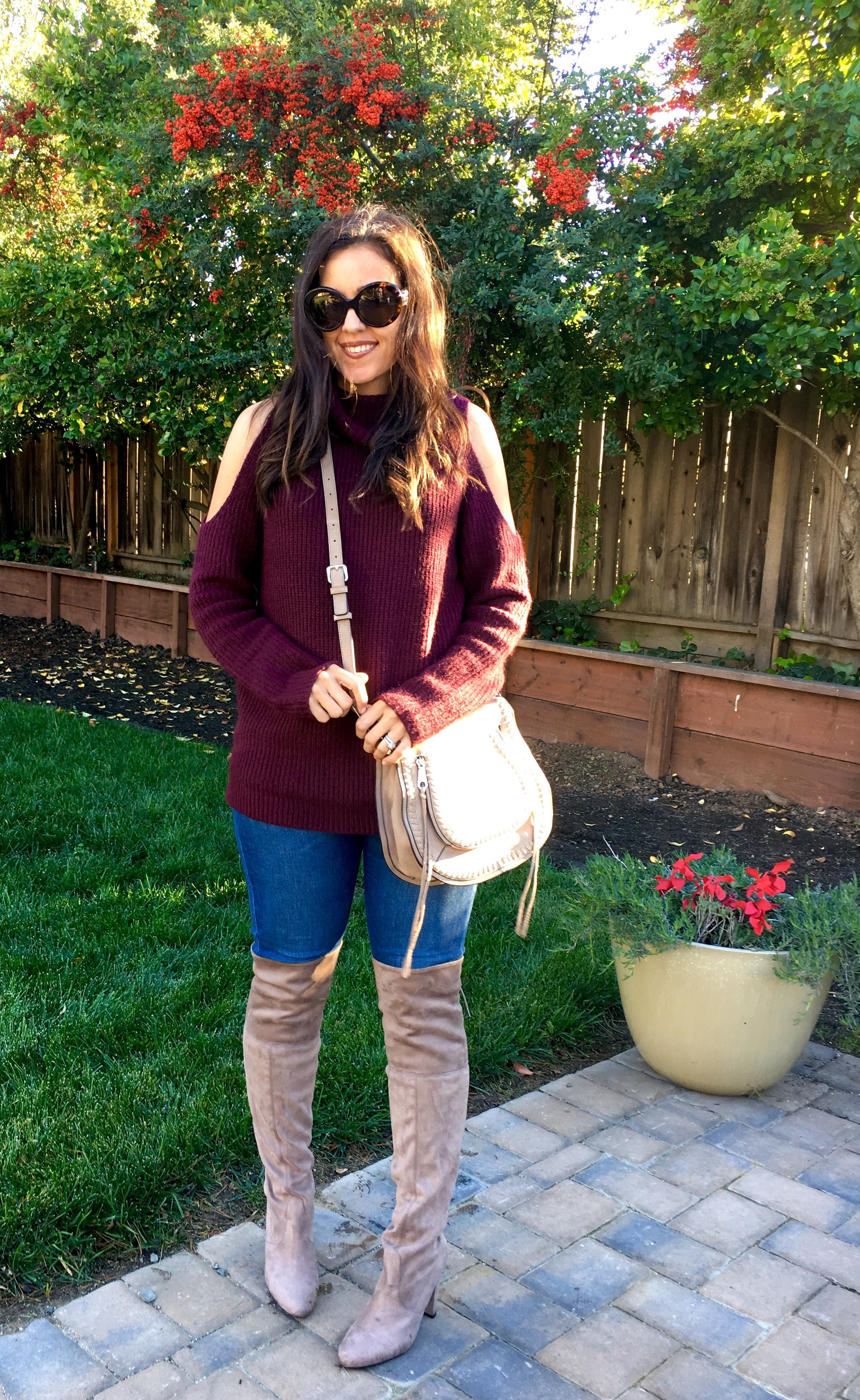 How to style cold shoulder sweater | fall and winter style | winter fashion | cold weather | styling over the knee boots