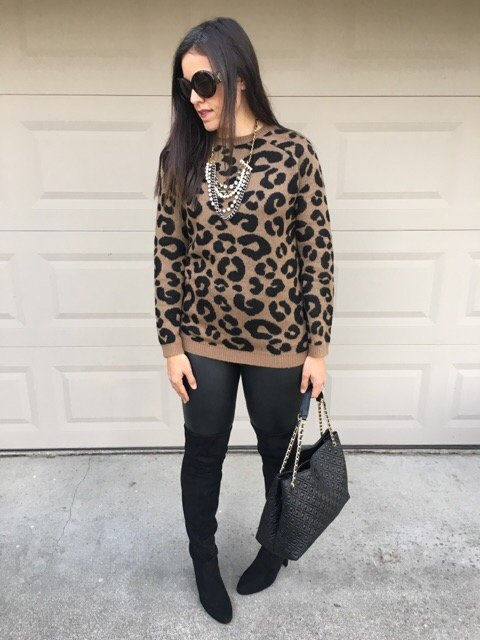 How to style leopard sweater | winter and fall style | winter fashion | cold weather fashion | over the knee boot