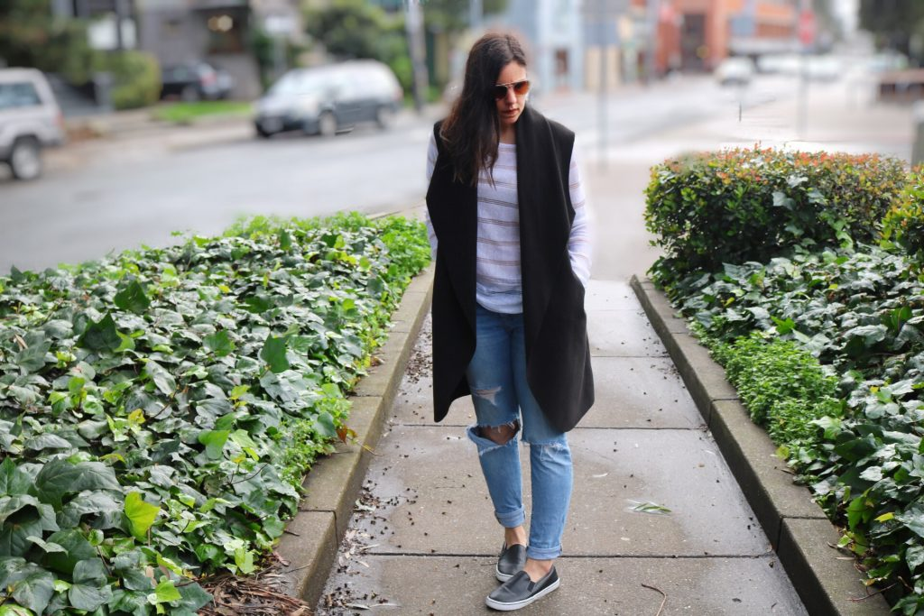 How to style sleeveless trench | fall and spring style | spring fashion | cool weather fashion | sneakers | athleisure