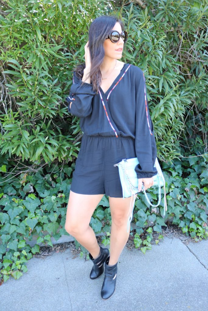Cold Shoulder Romper | how to style romper | spring and summer style | spring fashion | warm weather fashion | styling booties with shorts