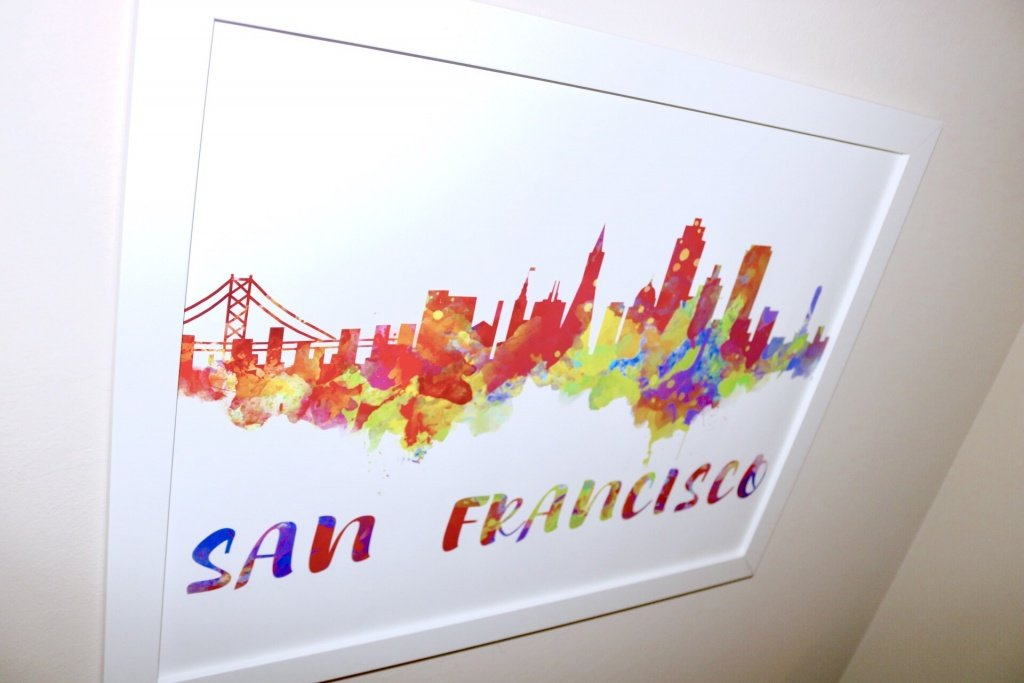 Tips for hanging art, renters décor, San Francisco Poster, San Francisco Canvas, San Francisco Skyline, San Francisco Painting, San Francisco Art