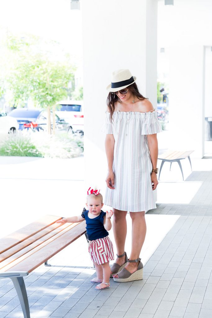 Mom + Daughter 4th of July Outfit, Styling an off the shoulder dress, Mom and daughter outfits, Mommy and me outfits, 4th of July outfits, how to dress for the 4th of July, Memorial Day outfit, holiday outfit tips