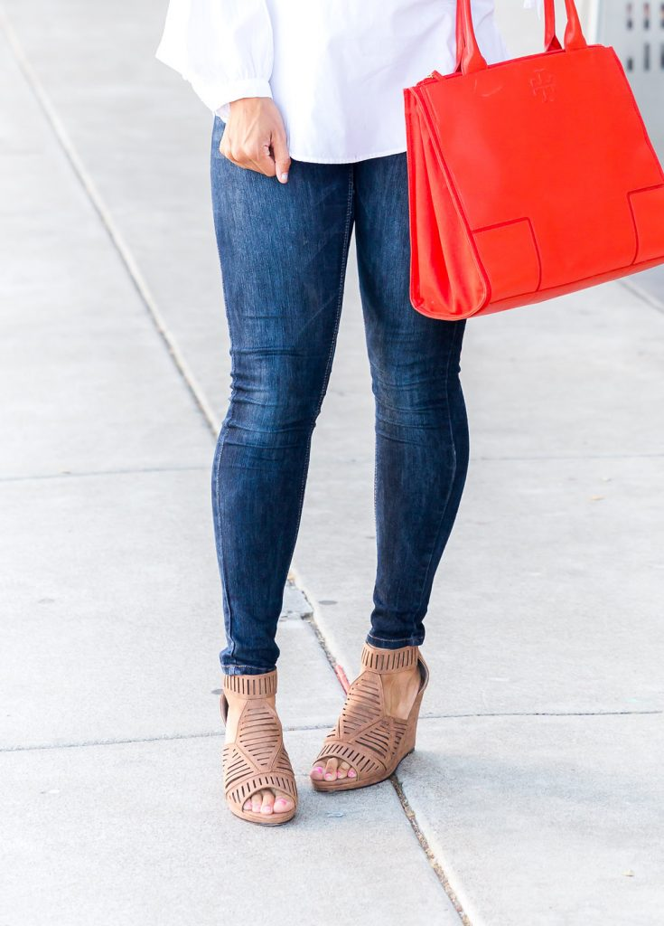 Styling a white blouse, Wedges for Fall, how to style wedges, white blouse outfit, red purse outfit ideas, fall styling tips, how to wear wedges for fall