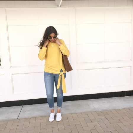 """Yellow is fall's """"it"""" color. Cross-front tee, pom-pom scarf, how to wear bold colors, fall fashion tips, fall style ideas"""