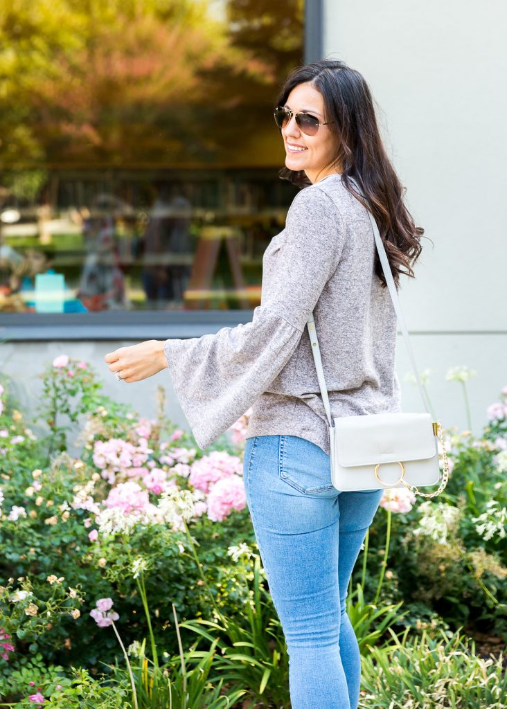 Bell sleeve outfit ideas. how to style a bell sleeve top, mom friendly bell sleeve top, fall fashion, cool weather fashion, flatform outfit ideas