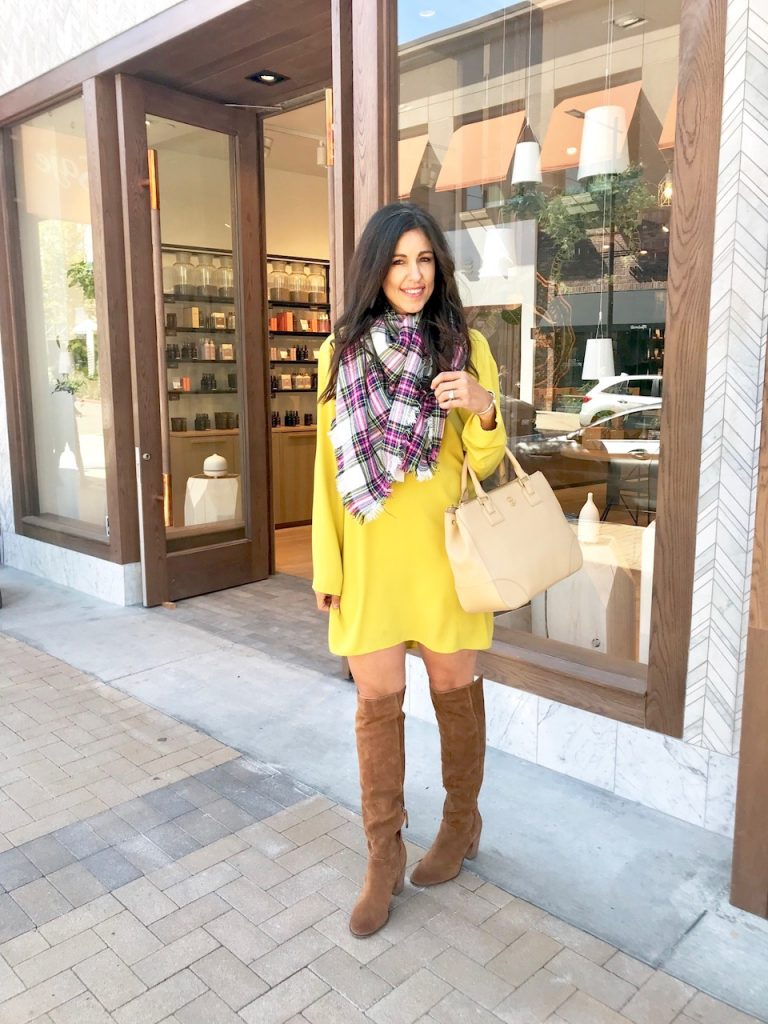 Wearing Bright Colors: Yellow Shift Dress. Tips for wearing bright colors.