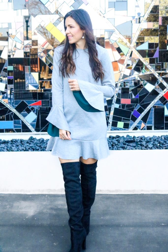 Ruffle and Bell Sleeve Dress