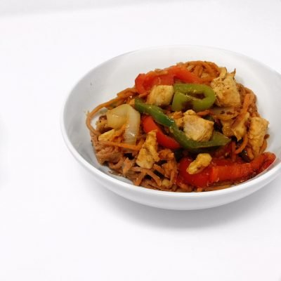 Healthy Recipe: Sweet Potato Noodle Stir Fry with Chicken