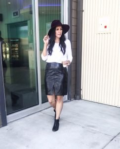 Casual Valentine's Day Series: Fitted Tee + Leather Skirt