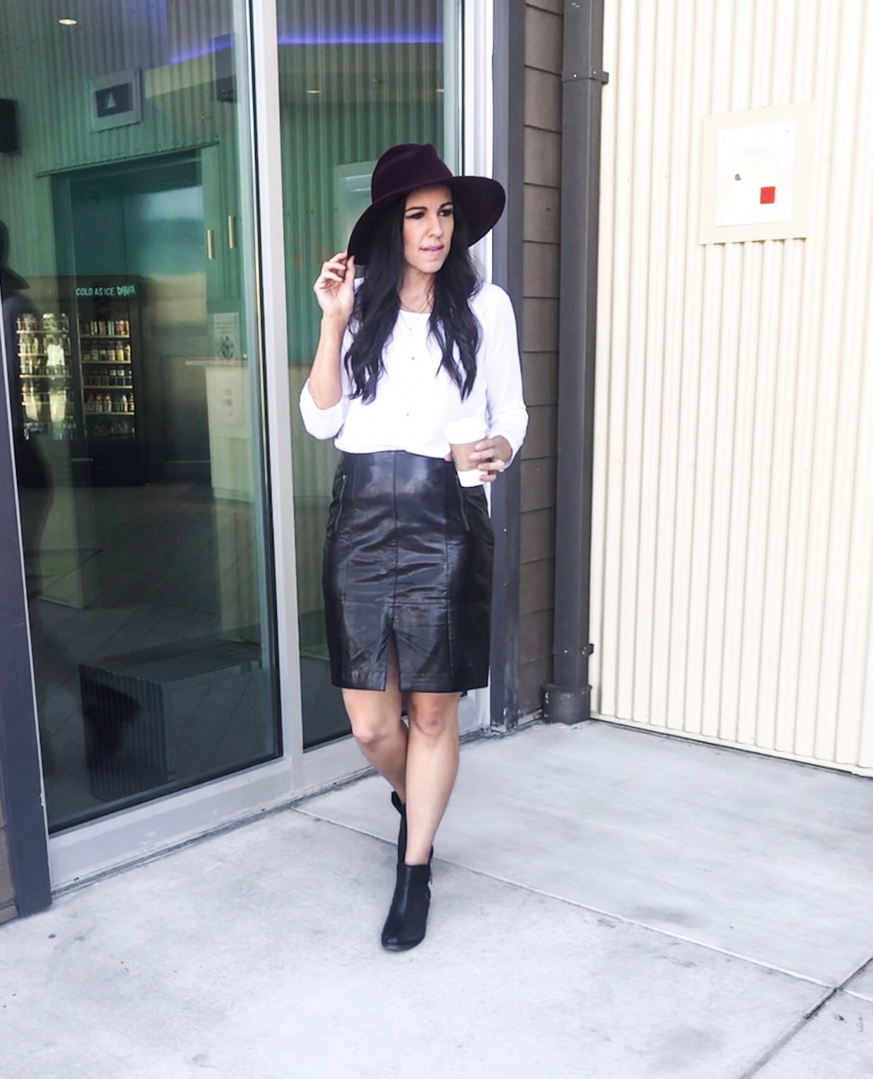 Fitted Tee + Leather Skirt